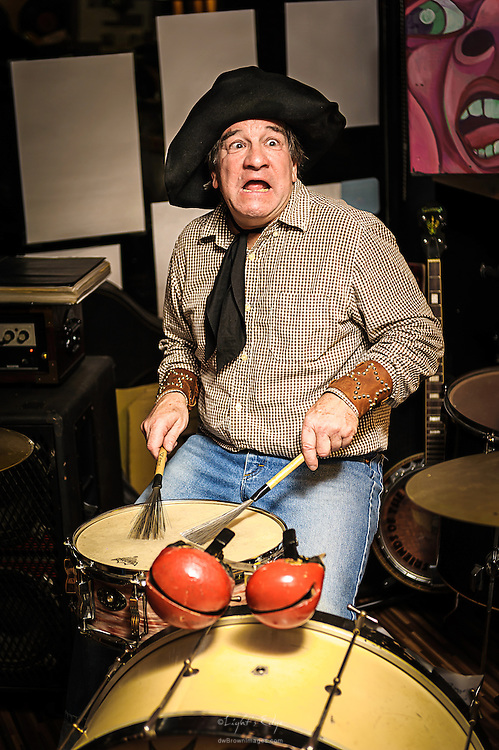 Tadpole LoBue working the skins during the performance of Jet Weston and His Atomic Ranch Hands at The Bus Stop Music Cafe in Pitman, NJ.