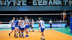 01-05-2019 NED: Abiant Lycurgus - Achterhoek Orion, Groningen<br /> Final Round 3 of 5 Eredivisie volleyball, The men's title fight is incredibly exciting. In an atmospheric Martini Plaza, Achterhoek Orion managed to strike tonight after two lost sets against reigning Dutch champion Abiant Lycurgus: 2-3 (25-17, 25-13, 23-25, 29-31, 11-15). That gives a 2-1 lead in the best-of-five series / Wytze Kooistra #2 of Lycurgus , Auke van de Kamp #5 of Lycurgus
