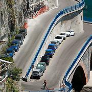 Looking down onto the rocky coast of Positano, italy.