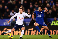 Christian Eriksen of Tottenham Hotspur (l) battles with Shinji Okazaki of Leicester city .Premier league match, Leicester City v Tottenham Hotspur at the King Power Stadium in Leicester, Leicestershire on Tuesday 28th November 2017.<br /> pic by Bradley Collyer, Andrew Orchard sports photography.