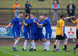 Cove Rangers Paul McManus cele scoring their third goal. Cove Rangers have become the SPFL's newest side and ended Berwick Rangers' 68-year stay in Scotland's senior leagues by earning a League Two place. Berwick Rangers 0 v 3 Cove Rangers, League Two Play-Off Second Leg played 18/5/2019 at Berwick Rangers Stadium Shielfield Park.