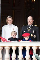 Prince Albert II of Monaco, Princess Charlene of Monaco, Crown Prince Jacques of Monaco and Princess Gabriella of Monaco posing on the Palace's balcony during the Monaco National Day Celebrations on November 19, 2019 in Monaco, Monaco. Photo by David Niviere/ABACAPRESS.COM