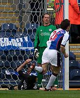 Photo. Glyn Thomas, Digitalsport.<br /> Blackburn Rovers v Leicester City. <br /> FA Barclaycard Premiership. 17/04/2004.<br /> Blackburn's John Douglas (R) celebrates as Nikos Dabizas' (L) own goal puts his side a goal in front as Leicester's keeper Ian Walker (C) looks on dejectedly.