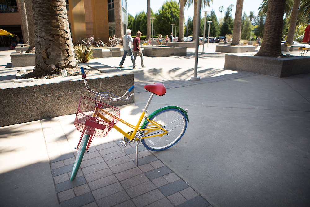 A multi-color bicycle at Google headquarters at 1600 Amphitheatre Pkwy, Mountain View, CA<br /> Copyright 2015 John O'Boyle<br /> john@johnoboyle.com