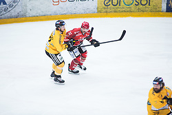 PANCE Eric vs Danny Elliscasis during Alps Hockey League match between HC Pustertal and HDD SIJ Jesenice, on April 3, 2019 in Ice Arena Podmezakla, Jesenice, Slovenia. Photo by Peter Podobnik / Sportida
