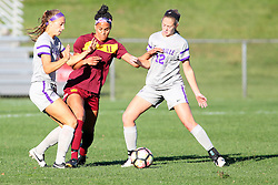 04 November 2016:  JBess Ruby(21), Sienna Cruz(11) and Mikayla Harvey(12) during an NCAA Missouri Valley Conference (MVC) Championship series women's semi-final soccer game between the Loyola Ramblers and the Evansville Purple Aces on Adelaide Street Field in Normal IL
