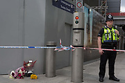 In the aftermath of the London Bridge and Borough Market terrorist attack the previous night, police are positioned at closed road junctions at London Bridge rail station, a half a mile from the crime scene where 7 people were killed and many others injured Sundays total. On Sunday 4th June 2017, in the south London borough of Southwark, England.