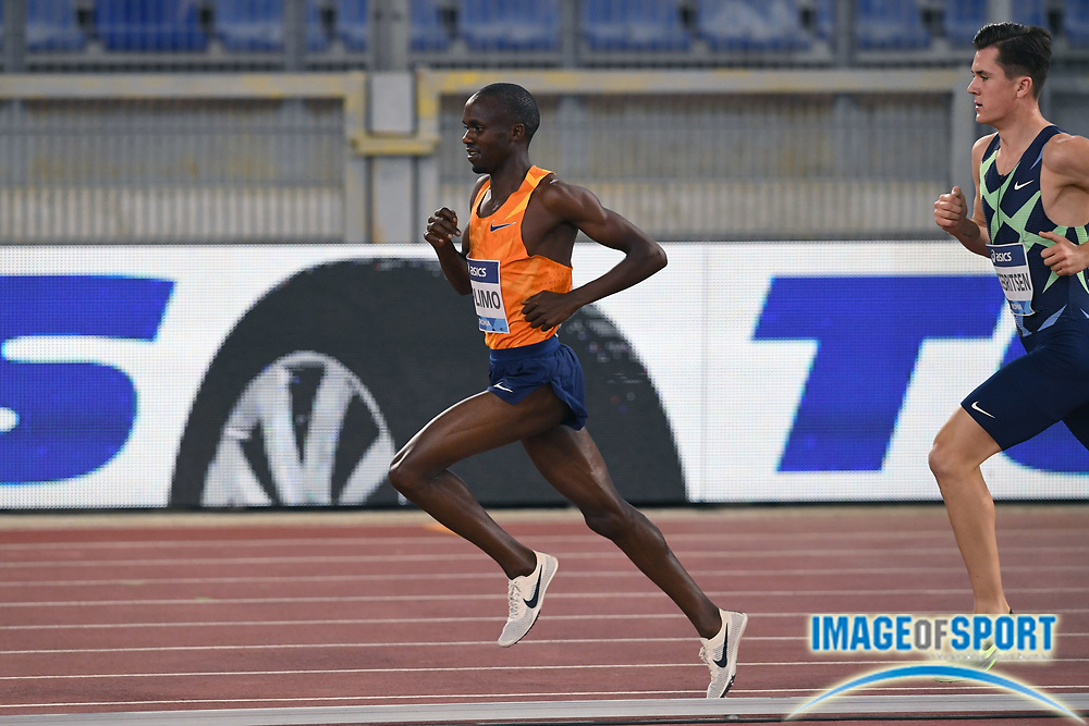 Jacob Kiplimo (UGA) defeats Jakob Ingebrigtsen (NOR) to win the 3,000m in a national record 7:26.64 during the Mennea Golden Gala at Stadio Olimpico, Thursday, Sept. 17, 2020, in Rome. Ingebrigtsen was second in a Norwegian record 7:27.05. (Jiro Mochizuki/Image of Sport)