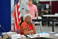 November 18, 2018 - Lauderhill, Florida, United States Of America - LAUDERHILL, FL - NOVEMBER 18: Dr. Brenda Snipes, Broward County Supervisor of Elections wearing her Sunday best red dress, red shoes and her gold watch and diamond bracelets, gets applause from the people in her office and she hugs them and than waves bye bye as she completes the recount of all votes. Broward County didn't make the deadline that one of its canvassing board judges unofficially set for 10 a.m. Sunday. But the county did make the deadline that counted, submitting its official recount results an hour or so before the state's noon cut off. Seen here at the Broward County Supervisor of Elections Office on November 18, 2018 in Lauderhill, Florida. Three close midterm election races for governor, senator, and agriculture commissioner are now finished in Broward...People:  Brenda Snipes (Credit Image: © SMG via ZUMA Wire)