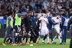 March 18, 2018 - Marseille, France - 23 ADIL RAMI (OM) - 05 LUCAS OCAMPOS (OM) - 06 MARCELO (OL) - COLERE - ALTERCATION (Credit Image: © Panoramic via ZUMA Press)