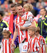 Ryan Shawcross of Stoke city leads out his Stoke team ahead of k/o .Premier league match, Stoke City v Arsenal at the Bet365 Stadium in Stoke on Trent, Staffs on Saturday 13th May 2017.<br /> pic by Bradley Collyer, Andrew Orchard sports photography.