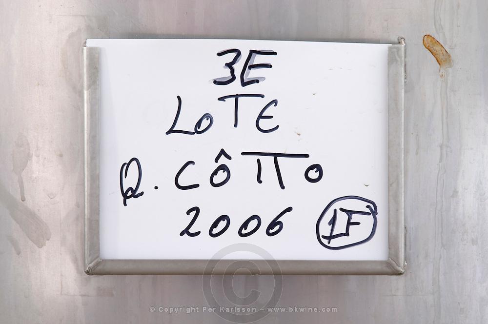 sign on tank quinta do cotto douro portugal