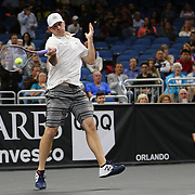 Tennis pro Andy Roddick is seen as he plays during the PowerShares Tennis Series event at the Amway Center on January 5, 2017 in Orlando, Florida. (Alex Menendez via AP)
