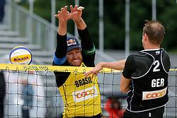 12.07.2014, Beach Village, Gstaad, SUI, FIVB Beach Volleyball Grand Slam Gstaad, im Bild Jonathan Erdmann (GER) gegen Alison Cerutti (BRA) // during the FIVB Beach Volleyball Grand Slam Gstaad at the Beach Village in Gstaad, Switzerland on 2014/07/12. EXPA Pictures © 2014, PhotoCredit: EXPA/ Freshfocus/ Claude Diderich<br /> <br /> *****ATTENTION - for AUT, SLO, CRO, SRB, BIH, MAZ only*****