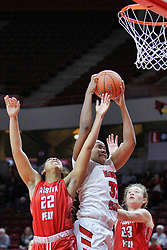 NORMAL, IL - December 04: Simone Goods between Keisha Gregory and Maggie Knowles during a college women's basketball game between the ISU Redbirds  and the Austin Peay Governors on December 04 2018 at Redbird Arena in Normal, IL. (Photo by Alan Look)