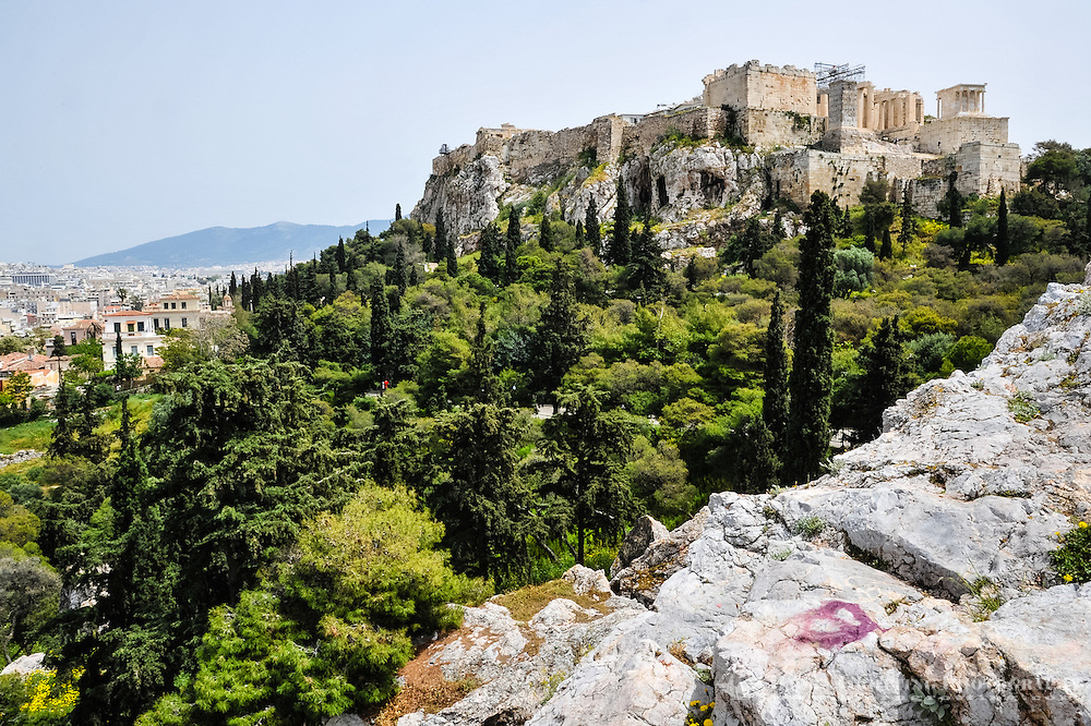Athens, Greece. View from Areopagus with the Acropolis hill.