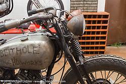 Visit to Robert Hernandez' Rabbit Hole Vintage HD Works in Phoenix during Arizona Bike Week. USA. April 6, 2014.  Photography ©2014 Michael Lichter.