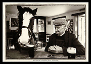 A Horse goes into a pub.... in Kerry!     Local farmer Dan enjoys nothing more than a pint with his horse as the pair sit and stand at the bar counter in the Blink Piper Bar in Caherdaniel, South Kerry in 1994.<br /> Photo: Don MacMonagle