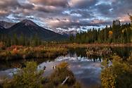 Serene morning over Vermillion Lakes in Banff National Park.