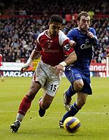 Photo: Olly Greenwood.<br />Charlton Athletic v Everton. The Barclays Premiership. 25/11/2006. Charlton's Talal El Karkouri and Everton's James McFadden