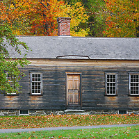 New England fall foliage peak colors framing The Robbins House at the Minute Man National Historic Park near Concord, Lincoln and Lexington in Massachusetts.<br /> <br /> Massachusetts Minute Man National Historic Park fall foliage photos are available as museum quality photo, canvas, acrylic, wood or metal prints. Wall art prints may be framed and matted to the individual liking and interior design decoration needs:<br /> <br /> https://juergen-roth.pixels.com/featured/the-robbins-house-juergen-roth.html<br /> <br /> Good light and happy photo making!<br /> <br /> My best,<br /> <br /> Juergen