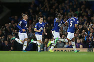 Romelu Lukaku of Everton (2r) celebrates with his teammates after scoring his teams 1st goal. Premier league match, Everton v Crystal Palace at Goodison Park in Liverpool, Merseyside on Friday 30th September 2016.<br /> pic by Chris Stading, Andrew Orchard sports photography.