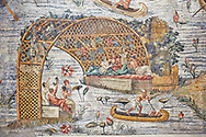 Detail picture of a canoe on the flooded Nile  the Nile  from the famous Roman Hellenistic Nilotic landscape Roman Palestrina Mosaic or Nile mosaic of Palestrina 1st or 2nd century BC. Museo Archeologico Nazionale di Palestrina Prenestino  (Palestrina Archaeological Museum), Palestrina, Italy. .<br /> <br /> If you prefer to buy from our ALAMY PHOTO LIBRARY  Collection visit : https://www.alamy.com/portfolio/paul-williams-funkystock/roman-mosaic.html - Type -   Palestrina   - into the LOWER SEARCH WITHIN GALLERY box. Refine search by adding background colour, place, museum etc<br /> <br /> Visit our ROMAN MOSAIC PHOTO COLLECTIONS for more photos to download  as wall art prints https://funkystock.photoshelter.com/gallery-collection/Roman-Mosaics-Art-Pictures-Images/C0000LcfNel7FpLI