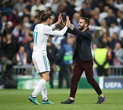 May 1, 2018 - Madrid, Spain - Gareth Bale of Real Madrid  celebrates victory after the UEFA Champions League Semi Final Second Leg match between Real Madrid and Bayern Muenchen at the Bernabeu on May 1, 2018 in Madrid, Spain. (Credit Image: © Raddad Jebarah/NurPhoto via ZUMA Press)