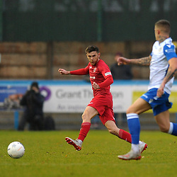 TELFORD COPYRIGHT MIKE SHERIDAN Arlen Birch of Telford during the Buildbase FA Trophy 3Q fixture between Guiseley and AFC Telford United at Nethermoor Park on Saturday, November 23, 2019.<br /> <br /> Picture credit: Mike Sheridan/Ultrapress<br /> <br /> MS201920-031
