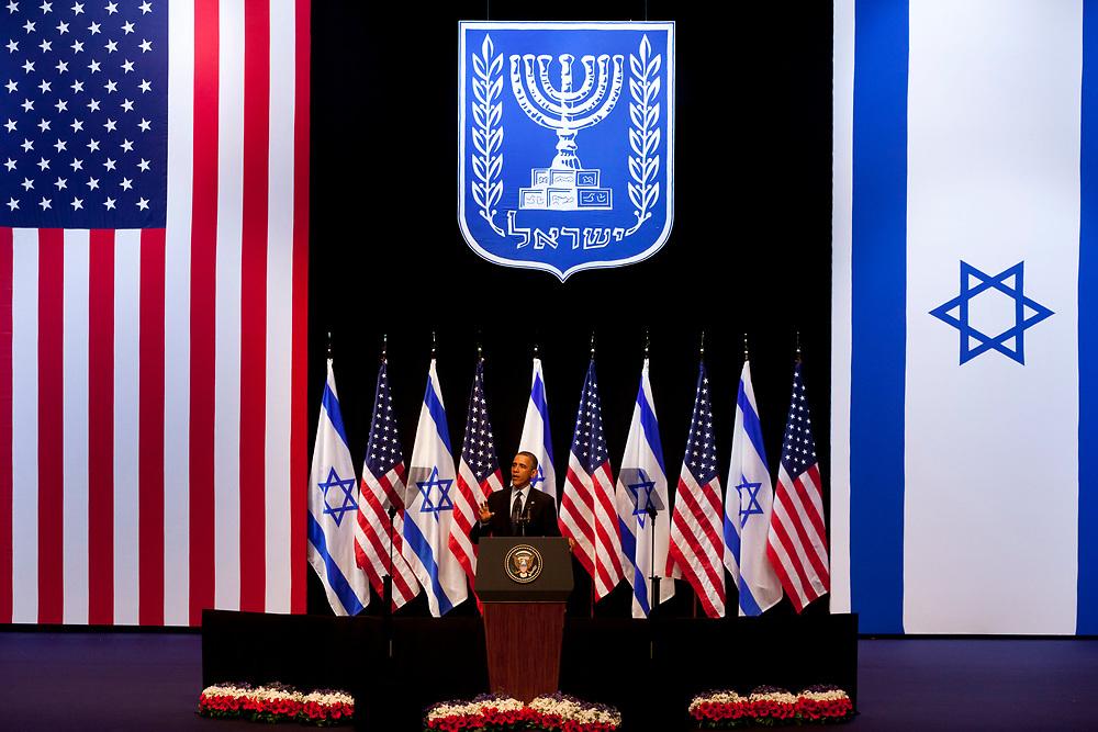 U.S. President Barack Obama gestures during his speech at the Jerusalem Convention Center in Jerusalem, Israel, on March 21, 2013.