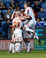 Photo: Steve Bond/Richard Lane Photography. Leicester City v Carlisle United. Coca Cola League One. 04/04/2009.  Scott Dobie (C) is congratulated on his equaliser