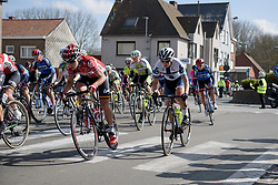 Elise Delzenne and Lotta Lepsitö move up on the outside at Dwars door Vlaanderen 2017. A 114 km road race on March 22nd 2017, from Tielt to Waregem, Belgium. (Photo by Sean Robinson/Velofocus)