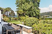 Beautiful patio of a villa, modern furniture