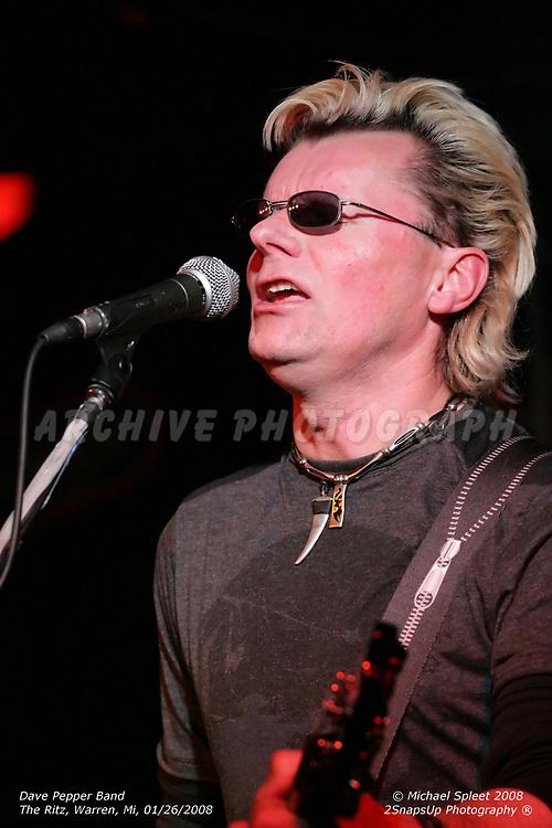 WARREN, MI, SATURDAY, JAN. 26, 2008: Dave Pepper Band, Dave Pepper at The Ritz, Warren, MI, 01/26/2008. (Image Credit: Michael Spleet / 2SnapsUp Photography)