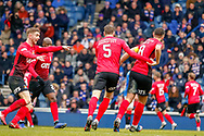 Kilmarnock players celebrate their early goal during the Ladbrokes Scottish Premiership match between Rangers and Kilmarnock at Ibrox, Glasgow, Scotland on 16 March 2019.