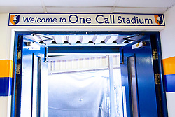A 'Welcome to One Call Stadium' inside Mansfield Town's dressing room exit inside the One Call Stadium - Mandatory by-line: Ryan Crockett/JMP - 28/07/2018 - FOOTBALL - One Call Stadium - Mansfield, England - Mansfield Town v Rotherham United - Pre-season friendly