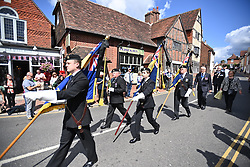© Licensed to London News Pictures. 10/07/2020. Ditchling, UK. Members of the public gather in the town of Ditchling, East Sussex, to pay their respects ahead of the funeral of Dame Vera Lynn. The 'Forces' Sweetheart', who died last month aged 103, was famous for singing performances during WW2, which helped raise morale amongst troops abroad. Photo credit: Ben Cawthra/LNP