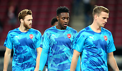 Danny Welbeck, Rob Holding and Calum Chambers of Arsenal - Mandatory by-line: Robbie Stephenson/JMP - 23/11/2017 - FOOTBALL - RheinEnergieSTADION - Cologne,  - Cologne v Arsenal - UEFA Europa League Group H