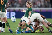 Faf de Klerk of South Africa kicks the ball during the Rugby World Cup  final match between England and South Africa at the International Stadium ,  Saturday, Nov. 2, 2019, in Yokohama, Japan. South Africa defeated England 32-12. (Florencia Tan Jun/ESPA-Image of Sport)