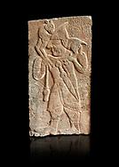 Pictures & images of the North Gate Hittite sculpture stele depicting Hittite man with a sheep on his shoulders. 8th century BC. Karatepe Aslantas Open-Air Museum (Karatepe-Aslantaş Açık Hava Müzesi), Osmaniye Province, Turkey. Against black background