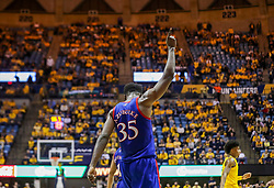 Feb 12, 2020; Morgantown, West Virginia, USA; Kansas Jayhawks center Udoka Azubuike (35) celebrates late in the second half against the West Virginia Mountaineers at WVU Coliseum. Mandatory Credit: Ben Queen-USA TODAY Sports