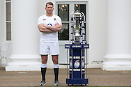 Dylan Hartley, the England captain poses with the Six Nations Trophy. RBS Six Nations 2017 media launch at the Hurlingham Club, Ranelagh Gardens in London on Wednesday 25th January 2017.<br /> pic by John Patrick Fletcher, Andrew Orchard sports photography.