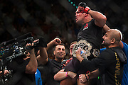 Robbie Lawler celebrates after defeating Rory MacDonald during UFC 189 at the MGM Grand Garden Arena in Las Vegas, Nevada on July 11, 2015. (Cooper Neill)