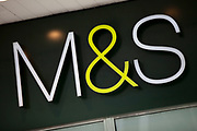 Sign for department store and supermarket chain Marks and Spencer.