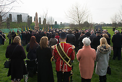 © Licensed to London News Pictures. 27/02/2016. <br /> <br /> Pictured: The crowd at the Operation Granby Service at The National Memorial Arboretum on Saturday 27th February 2016.<br /> <br /> A service has been held at The National Memorial Arboretum on Saturday 27th February 2016 to commemorate The Stafford Regiments participation in Operation Granby, a British military operation held in 1991 during the first Gulf War in which soldiers helped liberate Kuwait from Iraqi occupation ordered by Saddam Hussain.    <br /> <br /> Two Staffordshire Regiment soldiers, Private Carl Moult and Private Shaun Taylor were killed in Operation Granby.<br /> <br />  Photo credit should read Max Bryan/LNP