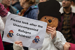 © Licensed to London News Pictures. 24/10/2016. London, UK. Protesters gather outside the Home Office to demand that the government move children from the Calais 'Jungle' camp in France to the United Kingdom. French authorities have begun the demolition of the camp. Photo credit: Rob Pinney/LNP