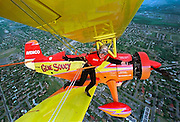 Teresa Stokes performs her acrobatic routine on a wing of a plane high above Ottawa, May 28.  Stokes, who does not wear a harness,  and pilot Gene Soucy are preparing to perform in the National Capital Air Show May 30-31. REUTERS/Jim Young
