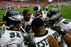 18 Jan 2009: Philadelphia Eagles running back Correll Buckhalter #28 in a huddle with A.J. Feeley, Brian Westbrook, Kyle Eckel, and Dan Klecko before the NFC Championship game against the Arizona Cardinals on January 18th, 2009. The Cardinals won 32-25 at University of Phoenix Stadium in Glendale, Arizona. (Photo by Brian Garfinkel)