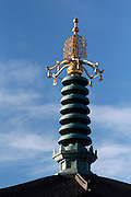 Adornment at the top of the Buddha Statue in Battersea Park, SW London