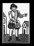 Pedlar selling printed ballads in the street. 17th century London.